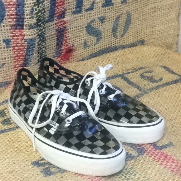 2d0c8fe9088 Jelly clear checkered vans sneakers. M 5c38ffe31b3294c54adb6567